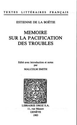 Mémoire sur la pacification des troubles
