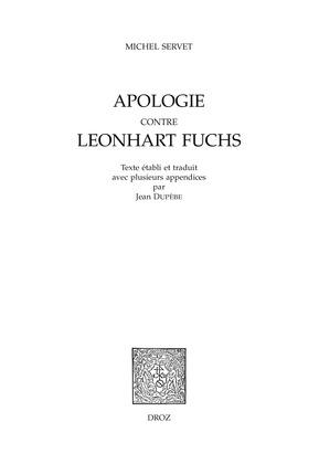 Apologie contre Leonhart Fuchs