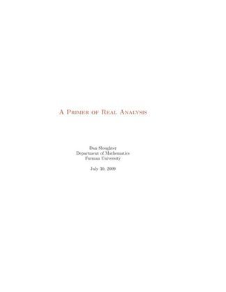 A Primer of Real Analysis
