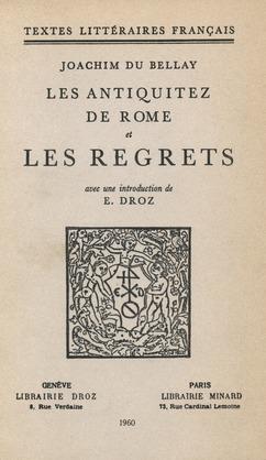 Les Antiquitez de Rome et Les Regrets