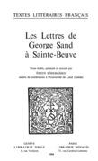 Les Lettres de George Sand à Sainte-Beuve