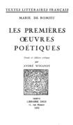 Les premières œuvres poétiques