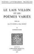 Le Lais Villon et les Poèmes variés