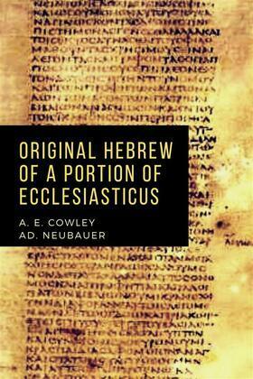 Original Hebrew of a Portion of Ecclesiasticus