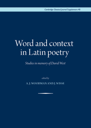 Word and context in Latin poetry