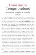 Temps profond - Essais de littérature arrêtée 1977-1984