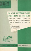 La caractérologie d'Heymans et Wiersma