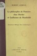 La philosophie de l'histoire chez Herder et Guillaume de Humboldt