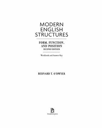 Modern English Structures Workbook, second edition