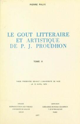 Le goût littéraire et artistique de P. J. Proudhon (2)