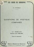 Questions de poétique comparée (1). Le Babélien, 2e partie : 1960-1961