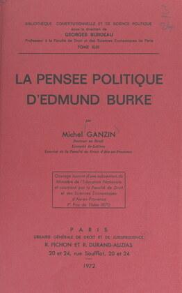 La pensée politique d'Edmund Burke
