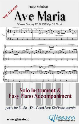 Ave Maria (Schubert) - Solo & Easy Piano (key C)