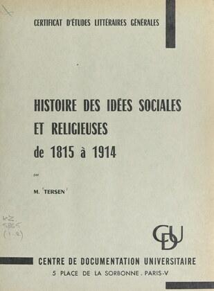 Histoire des idées sociales et religieuses de 1815 à 1914