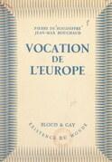 Vocation de l'Europe