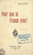 Pour que la France vive !
