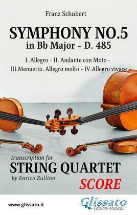 Symphony No.5 - D.485 for String Quartet (score)