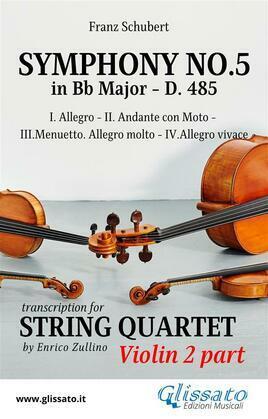 Symphony No.5 - D.485 for String Quartet (Violin 2)