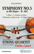 Symphony No.5 - D.485 for String Quartet (Violin 2)