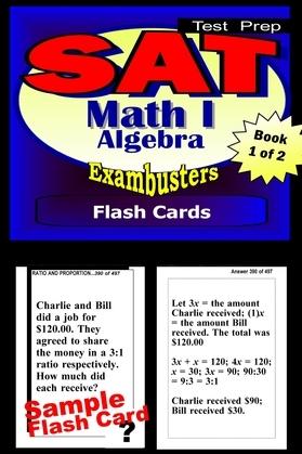 SAT Math Level I Test Prep Review--Exambusters Algebra Flash Cards--Workbook 1 of 2