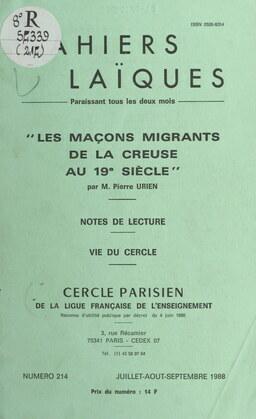 Les maçons migrants de la Creuse au 19e siècle