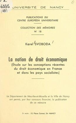 La notion de droit économique