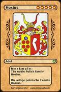 The noble Polish family Hosius. Die adlige polnische Familie Hosius.