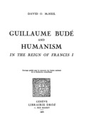 Guillaume Budé and Humanism in the Reign of FrancisI