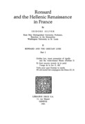 Ronsard and the Hellenic Renaissance in France