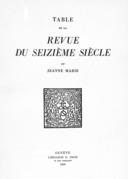 """Table de la """"Revue du Seizième siècle"""""""