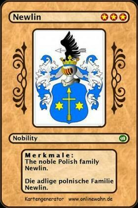 The noble Polish family Newlin. Die adlige polnische Familie Newlin.