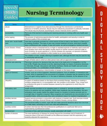 Nursing Terminology Speedy Study Guides