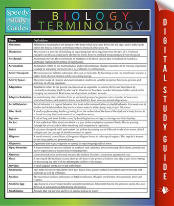 Biology Terminology: Speedy Study Guides