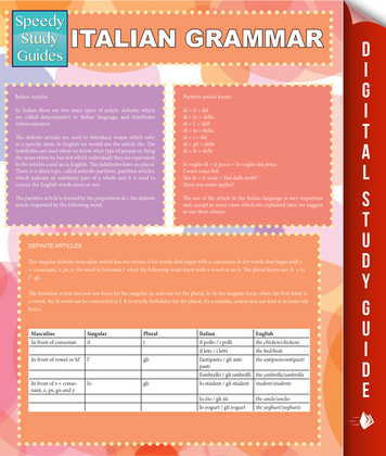 Italian Grammar (Speedy Study Guides)