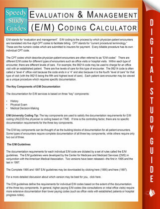 Evaluation & Management (E/M) Coding Calculator (Speedy Study Guides)