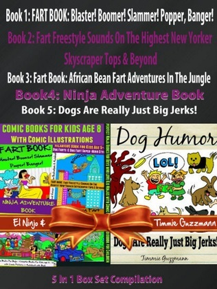 Comic Books For Kids Age 8 With Comic Illustrations: Perfect Ninja Books For Boys - Kid Ninjas - Dog Humor Books: 5 In 1 Box Set: Comic Pictures + Aud